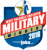 Most Valuable Employer - Military Winner 2016